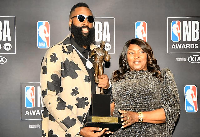 1b13409e17c Houston Rockets guard James Harden with his mother Monja Willis poses for  photos with his MVP award during the NBA Award Show at Barker Hanger.
